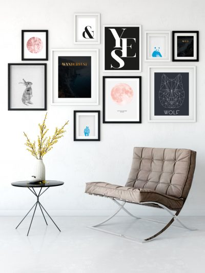 rosegold black gallery wall