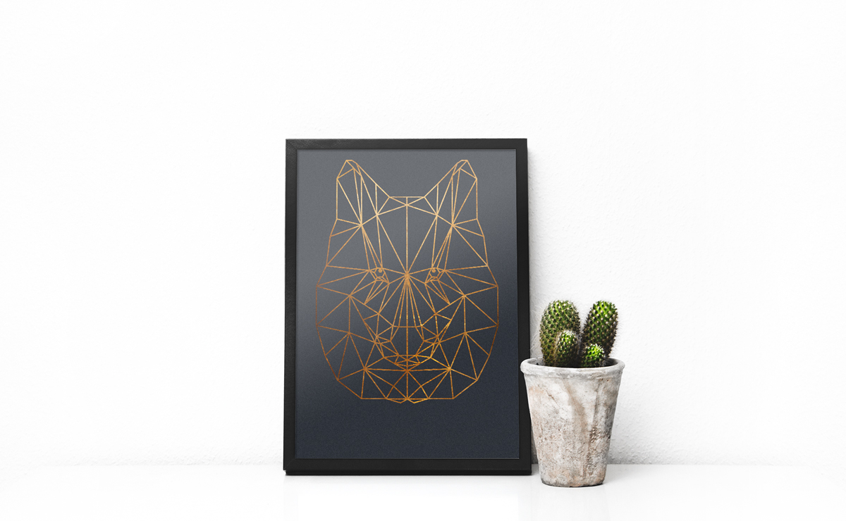 Wolf Print Wolf Low Poly Wolf Wall Art Animal Wall Art Copper Wall Art Copper Print Wolf geometrical Print scandinavian print Copper decor, copper wall art, copper poster, copper animal, copper print, copper geometrical, froilein juno